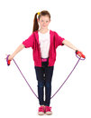 Beautiful little girl  with skipping rope Royalty Free Stock Photo