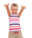 Beautiful little girl standing on white and showing ok sign i have everything worked out Royalty Free Stock Images