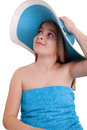 Beautiful little girl in summer hat blue Royalty Free Stock Photography