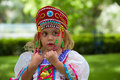 Beautiful little girl in ukrainian national dress outside Royalty Free Stock Photography