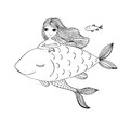 Beautiful little mermaid and big fish. Siren. Sea theme. Royalty Free Stock Photo
