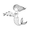 Beautiful little mermaid and fish. Siren. Royalty Free Stock Photo