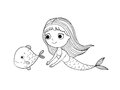 Beautiful little mermaid and fish. Siren.
