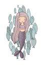 Beautiful little mermaid and a flock of fish. Siren. Sea theme.