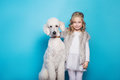 Beautiful little princess with dog. Friendship. Pets. Studio portrait over blue background Royalty Free Stock Photo