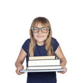 Beautiful little student with glasses and many books isolated on white background Royalty Free Stock Photo