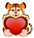 Beautiful little tiger with heart Stock Image