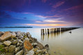 Beautiful long exposure sunset shot with moving clouds nature c very composition Stock Images