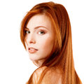 Beautiful long red healt hair of young attractive woman isolated on white background Stock Photography