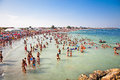 Beautiful long sand beach in costinesti constanta romania august crowded on southern part of on august is home of summer yoga camp Royalty Free Stock Photos