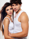 Beautiful lovers flirting Stock Images