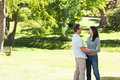 Beautiful lovers in the park Royalty Free Stock Photography