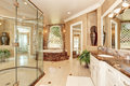 Beautiful luxury marble bathroom interior in beige color Royalty Free Stock Photo