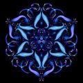Beautiful Magic mandala. Abstract fractal with a mandala made of luminous lines. Mysterious relaxation pattern. Yoga template.