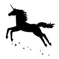 Beautiful magical unicorn silhouette of a vector illustration isolated on white background Royalty Free Stock Image