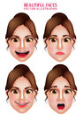 Beautiful Makeup Faces of Woman  Vector Character with Facial Expressions Royalty Free Stock Photo