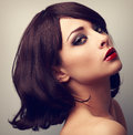 Beautiful makeup profile of black hair woman closeup vintage po style portrait Royalty Free Stock Photos
