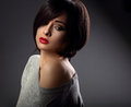 Beautiful makeup sexy woman with short hair style hot red and nu Royalty Free Stock Photo