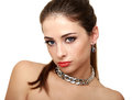 Beautiful makeup woman in necklace isolated Royalty Free Stock Photo