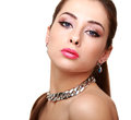 Beautiful makeup woman with necklace isolated on white background Royalty Free Stock Photos