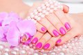 Beautiful manicure and pedicure in spa salon concept cosmetics body care Stock Images