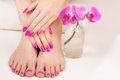 Beautiful manicure and pedicure on the white Royalty Free Stock Photos