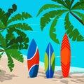 Beautiful marine landscape with colored surfboard - ocean, palm trees, sand coastline