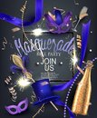 Beautiful masquerade banner with masks, beads, sparklers, bottles and glasses of champagne and ribbons.