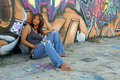 Beautiful Mature Black Woman with Graffiti (6) Royalty Free Stock Image