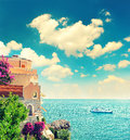 Beautiful mediterranean beach landscape provence french rivier riviera france near nice and monaco retro style picture Stock Images
