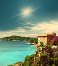 Beautiful mediterranean landscape french riviera view of luxury resort and bay of villefranche sur mer cote d azur france near Stock Images
