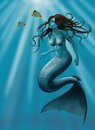 Beautiful mermaid a digital painting of a created in corel painter Stock Photo