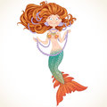 Beautiful mermaid with luxurious hair and pearls strings of Royalty Free Stock Photography