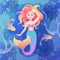 beautiful mermaid in the sea. underwater world