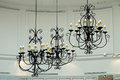 stock image of  Beautiful metal chandelier in room