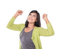 Beautiful middle aged Asian woman very excited and happy isolate Royalty Free Stock Photo