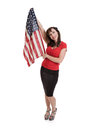 Beautiful Middle Aged Woman Holding American Flag Royalty Free Stock Photo