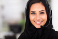 Beautiful middle eastern businesswoman headphones closeup head shot Royalty Free Stock Photos