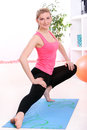 Beautiful middleaged woman doing fitness Royalty Free Stock Photography