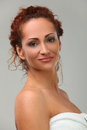 Beautiful middleaged woman in towel portrait of Stock Photo