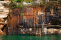 Beautiful mineral deposits on the rocks sandstone, Pictured Rock Royalty Free Stock Photo