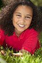 Beautiful Mixed Race African American Girl Smiling Stock Image