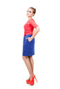 Beautiful model attractive in red blue dress Stock Photography