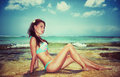 Beautiful model on the beach Royalty Free Stock Photo