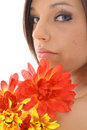 Beautiful model with flowers Stock Photography
