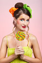 Beautiful model with lollipop Stock Photo