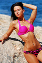 Beautiful model in pink bikini Royalty Free Stock Photo