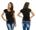 Beautiful model posing with blank black shirt young sexy female front and back ready for your design or artwork Royalty Free Stock Photography