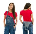 Beautiful model posing with blank red shirt young sexy female and overalls front and back ready for your design or artwork Stock Images