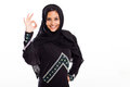 Beautiful modern arabian woman giving ok hand sign Stock Image